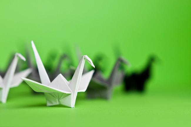Paper Cranes on Green