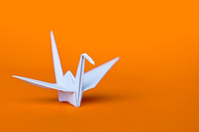 Paper Crane on Orange