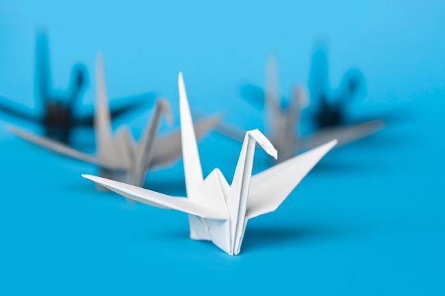 Paper Cranes on Blue
