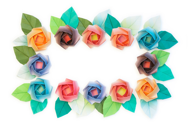 Rectangular Paper Roses Wreath