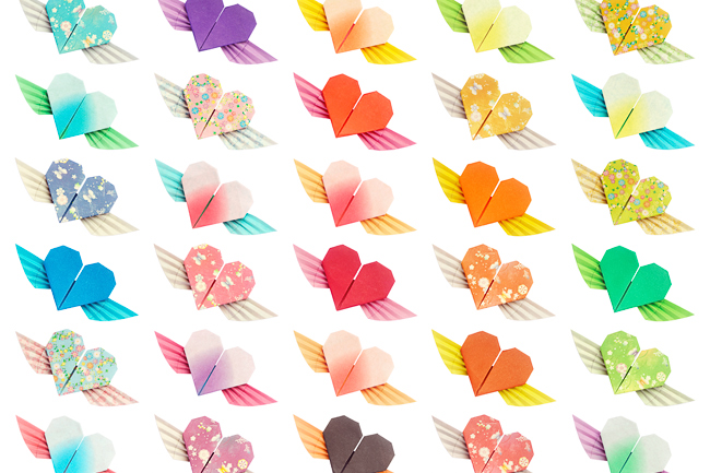 Paper folded wing-hearts pattern